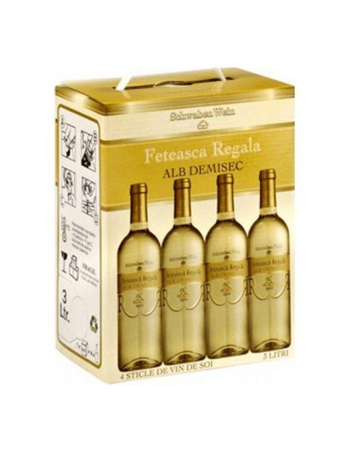Vin Alb Demisec Recas Schwaben Wein Feteasca Regala BIB, 3 l