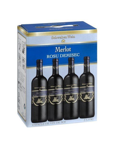 Vin Rosu Demisec Recas Schwaben Wein Merlot BIB, 3 l