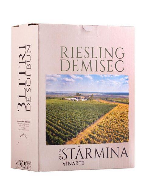 Vin Alb Demisec Vinarte Castel Starmina Riesling BIB, 3 l