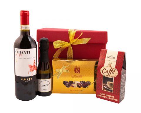Pachet Cadou Cavalieri - Vin Rosu, Chianti, Grati, DOCG, Italia; Vin Spumant, Prosecco Campo del Passo, Frizzante, Extra Dry, Italia